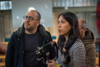 sul set del corto L'UNICA LEZIONE con il regista Peter Marcias e la studentessa Elisa Meloni, direttore della fotografia