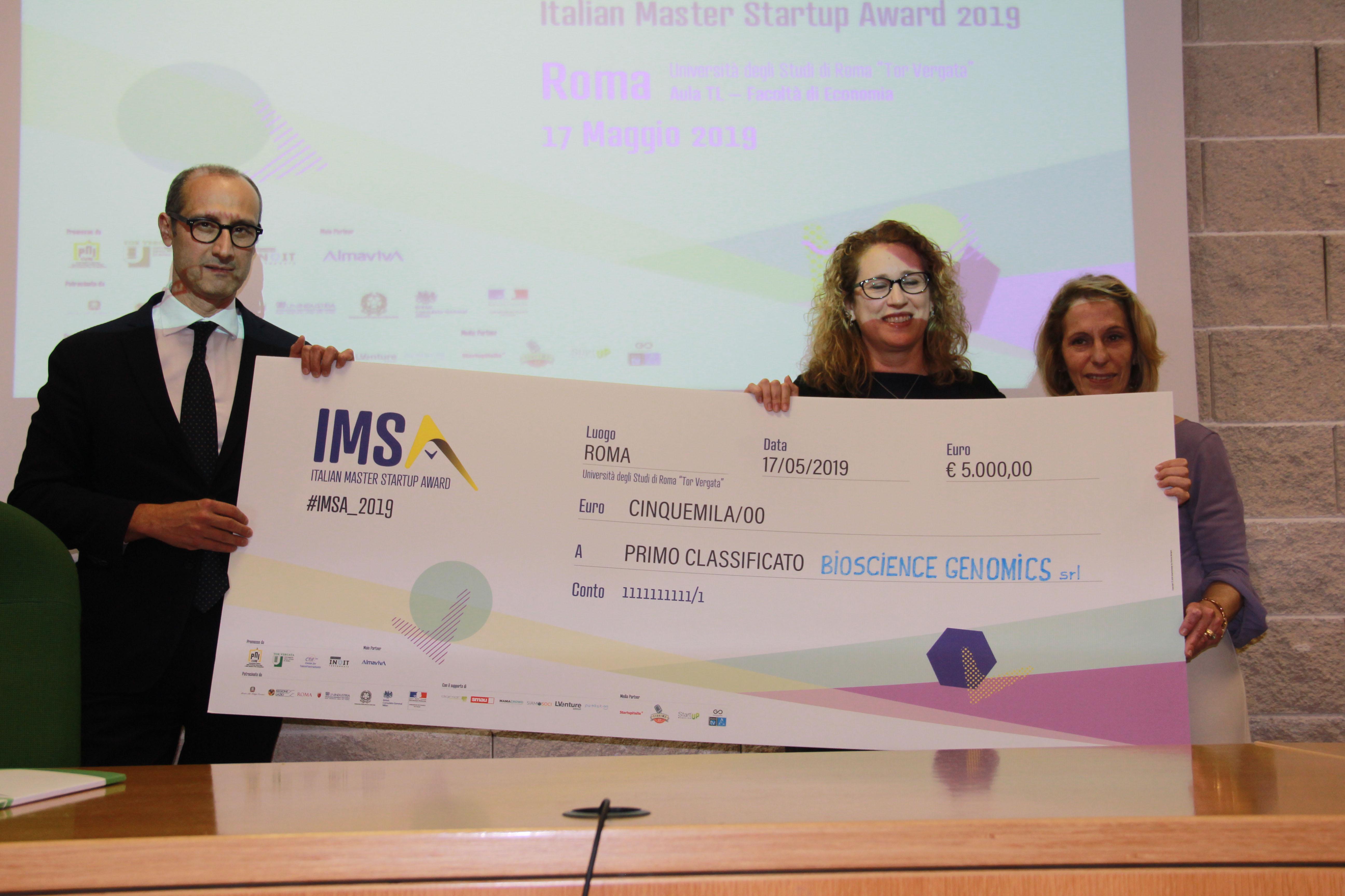 Bioscience Genomics vince l'Italian Master Startup Award 2019